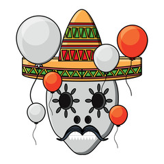sugar skull with mexican hat and decorative balloons around over white background, colorful design. vector illustration