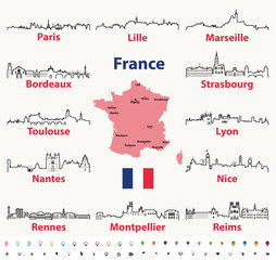 Fototapete - vector outline icons of France cities skylines