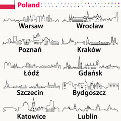 Fototapete - vector outline icons of Poland cities skylines