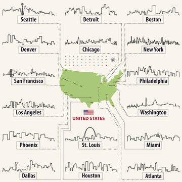 vector map of United States of America with largest cities' skylines outlines
