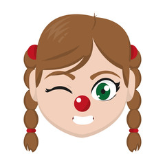 girl head with hairstyle and clown nose