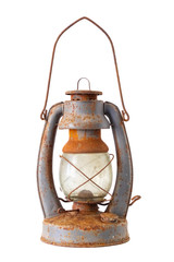Old vintage fuel lamp, isolated on white.