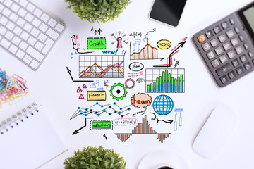Office desktop with sketch