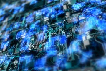 Glowing circuit backdrop