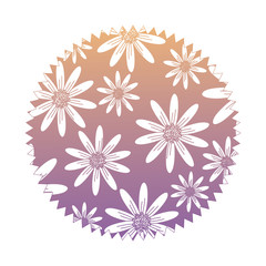 seal stamp with floral design, colorful design. vector illustration