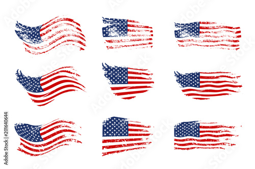 4589cfd686e Vintage waving USA flag set. Vector waving American flags on grunge texture.