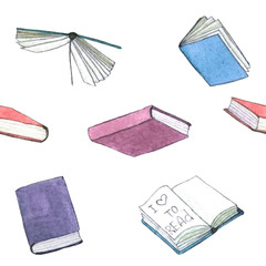 Watercolor books illustration. Hand painted stack of books isolated on white background.