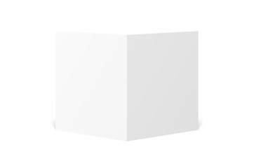 Vector blank white twofold leaflet opened