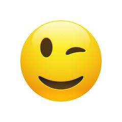 Vector Emoji yellow smiley winking face
