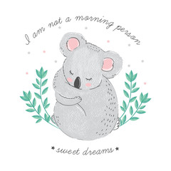 Cute card with sleeping koala with closed eyes, bamboo and lettering I am not a morning person, sweet dreams. Vector kawaii hand drawn illustration in anime minimalistic syle. Good night