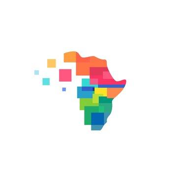 africa abstract colorful tech logo vector icon