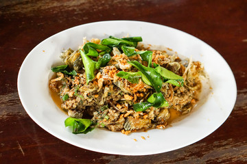 Spicy minced fish salad, Northern Thai Cuisine style.