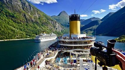 Cruise on a Cruise Ship through the Geiranger Fiord