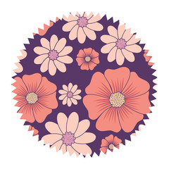colorful seal stamp with flowers design, vector illustration