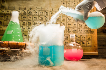 Academic chemical lab with color beakers in school