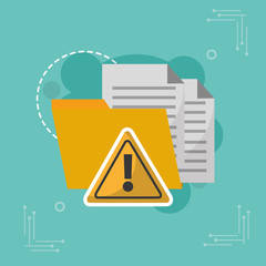 folder data warning alert attack cyber security vector illustration