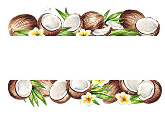 Coconut summer background. Watercolor hand drawn  illustration