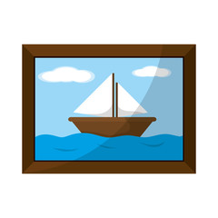 saildboat in the sea picture with frame design
