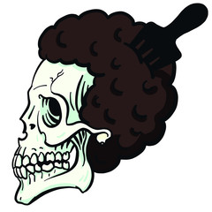 cool hip hop vector skull with afro hair and afro comb.