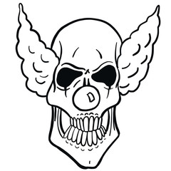 Monochrome illustration of a vector horror clown skull with crazy hair and nose. Isolated coloring page on white background