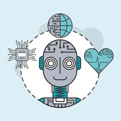 artificial intelligence robot world science technology vector illustration
