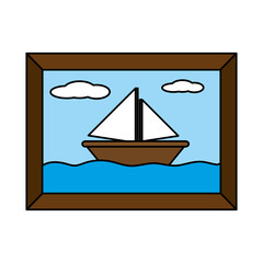 color saildboat in the sea picture with frame design