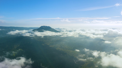 Beautiful Kintamani mountain scenery at morning time