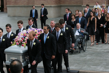Former U.S. President George H.W. Bush attends the funeral service for his wife former first lady Barbara Bush at St. Martin's Episcopal Church in Houston