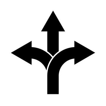 Three-way direction arrow sign, road direction icon. Vector illustration