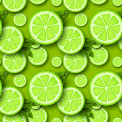 Lime fruit seamless pattern. Sliced pieces citrus with leaves and water drop. Vector illustration.