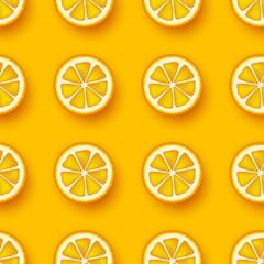 Orange fruit seamless pattern. Sliced pieces citrus. Vector illustration.