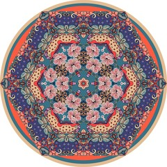 Round ornamental carpet with poppy flowers on ethnic ornamental background. Beautiful vector illustration.  decorative plate.