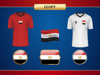 Football World Championship 2018 Egypt Jersey. Vector Country Flag.