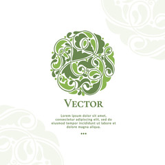 Vector organic emblem. Can be used for organic products, jewelry, beauty and fashion industry. Great for logo, invitation, flyer, menu, brochure, business card, banner, background or any desired idea