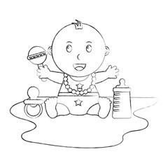 cute little baby boy sitting pacifier rattle and bottle vector illustration sketch