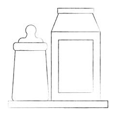 baby shower bottle milk and packaging vector illustration sketch
