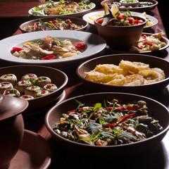 Assorted oriental food set. Armenian,Georgian cuisine dishes on table.Food party.