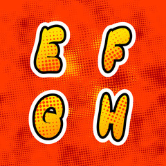 Bright colorful retro comics font with halftone pattern, vintage E F G H latin letters on red