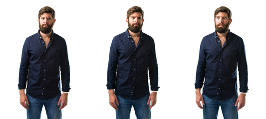 Young man with beard making funny face fooling isolated over white background
