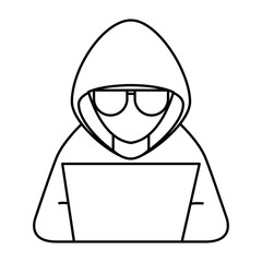 cyber security hacker with sunglasses character crime laptop computer vector illustration outline