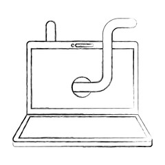 cyber security laptop with worm virus vector illustration sketch
