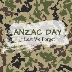Vector Illustration. Anzac Day card on camouflage background. Soldiers day which lest we forget. Poster with splodge of paint