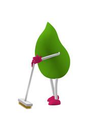 3d Character als grüner Tropfen mit Besen. 3d render