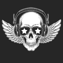 Cool rock star skull wearing disco glasses. Retro music festival. Heavy metall emblem for concert, party, banner, t-shirt