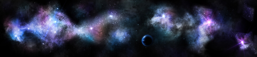panorama of the universe and galaxies, cosmic landscape with the planet