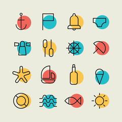 Minimalistic Nautical Icon Set