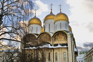 Dormition church. Architecture of Moscow Kremlin. Popular landmark. Color photo.