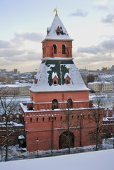 Architecture of Moscow Kremlin. Popular landmark. Color photo.