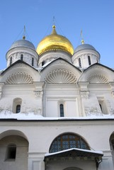 Archangels church. Architecture of Moscow Kremlin. Popular landmark. Color photo.