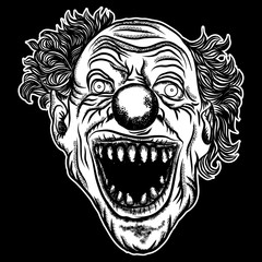 Halloween devil scary clown front head. Smiling clown monster with big eyes and wide angry smile. Blackwork adult tattoo flash line style and poster, print, t-shirt concept design. Vector.